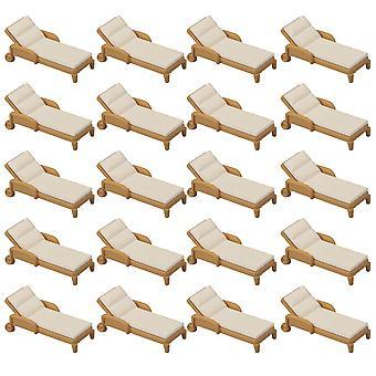 20PCS 1:50 Scale Plastic Brown&White Mini Beach Chair Model for Kids