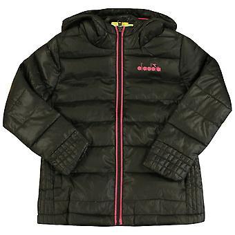 Diadora Kids Lightweight Hooded Winter Jacket Black Coat 102 172225 80013 A42A