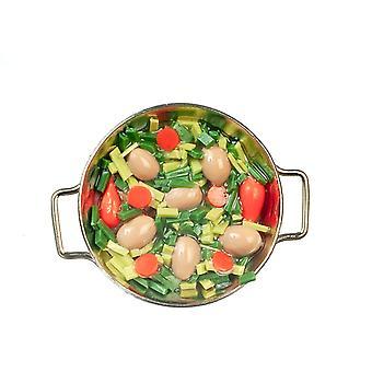 בובות בית ירקות בישול כסף טיגון מחבת מיניאטורי מטבח אביזר