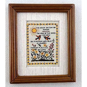 Melodia Jane Dolls House Miniature Sampler The Kiss of the Sun Picture in Frame