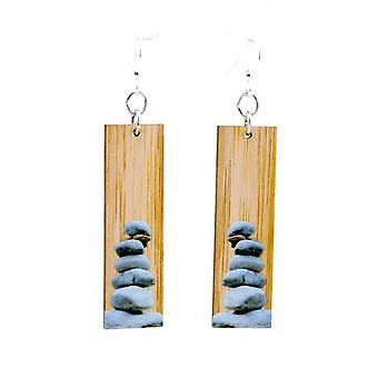 Stacked Stones Bamboo Earrings #980