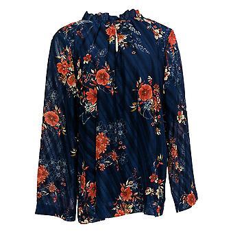 Du Jour Women's Top Long Sleeve Floral Printed Clip Dot Woven Blue A347549