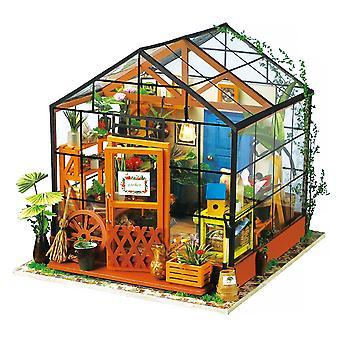 Robotime miniatura 3d estufa mini quarto mini quarto kits diy dollhouse com móveis e acessórios e