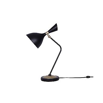 Lámpara de escritorio de marco de metal de 17 pulgadas con sombra redonda, negro