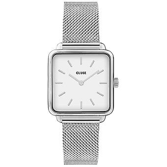 Cluse Cw0101207003 La Tétragone White & Silver Mesh Ladies Watch