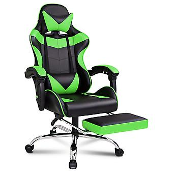 ELFORDSON Gaming Chair Office Executive Racing Footrest Seat PU Leather Green