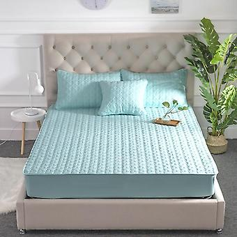 Washable Bed Cover Queen Size Breathable Solid Color Mattress Embossed Quilted