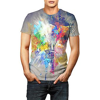Men Fashion Summer Short T-shirt Comfortable 3d Light Bulb Print T-shirt