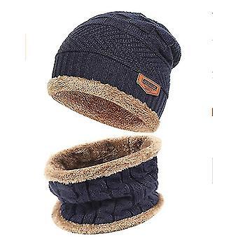 2-stuks Winter Beanie Hat Sjaal Set Warm Knit Hat Dikke Fleece Gevoerd