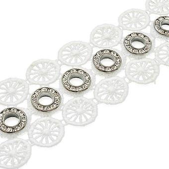 Grommet Studded Lace 40mm Wide