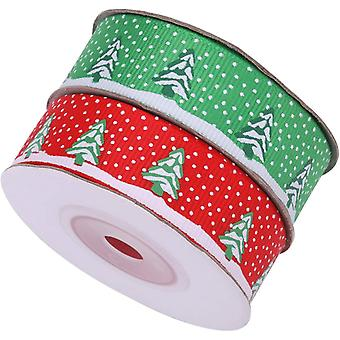 20mm Christmas Decorations Grosgrain Ribbon for Xmas Gift Wrapping Printed Snowflake with Christmas Tree Ribbons