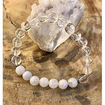 Rainbow Moonstone & Crystal Quartz Stretch Bracelet! Genuine Crystals!