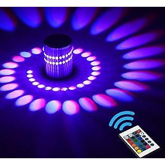 3W rGB førte pære moderne aluminium spiral loft gangen veranda indendørs lampe 3W væg lys