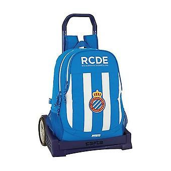 School Rucksack with Wheels Evolution RCD Espanyol Blue White