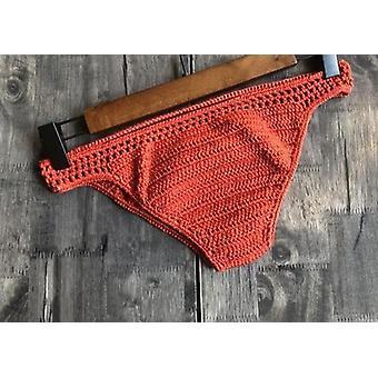 Női horgolt bikini alsó tanga fürdőruha kézzel készített kötés rövidnadrág