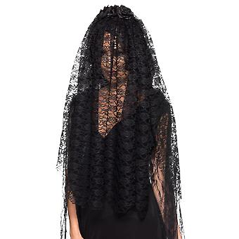 Gothic Black lace enke Veil Fancy Dress kostyme tilbehør