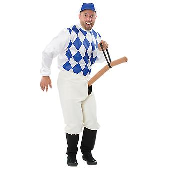 Mens blå knopp jockey fancy Dress kostym Fun Rude & Naughty team sport