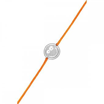 Smiley silver cord bracelet and orange cord 'apos;Peace and Love'