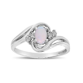 LXR 10k oro blanco ovalado ópalo y anillo de diamantes 0.25ct