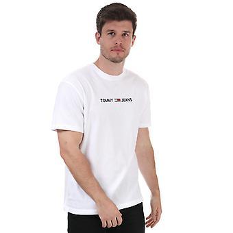 Menn's Tommy Hilfiger Rett Logo T-skjorte i hvitt