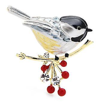 Monivärinen lintu rintaneula nastat laatu emali eläinten brooches korut