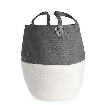 Large Cotton Rope Storage Basket | M&W Grey without Tassels