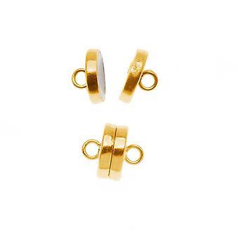 Beadsmith magneettinen lukko, litteä pyöreä 8mm, 2 sarjaa, kulta sävy