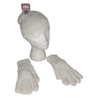 Muk Luks Women's Fuzzy Hat & Glove Set Ivory Hat A434801