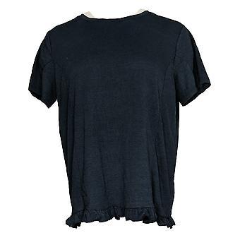 أي شخص المرأة الأعلى كرينكل Knit تي شيرت مع كشكشة هيم الأزرق A353784
