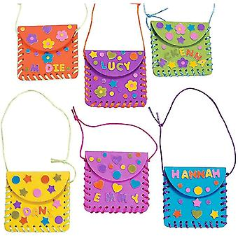 6 x Bastelset Geldbörse Tasche Taschen Taschen Kindergeburtstag Basteln Kindergarten Mitgebsel