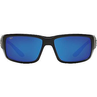 Costa Del Mar Mens Fantail 580P Polarized Rectangular Sunglasses - Blackout/Grey Blue Mirrored - 59 mm