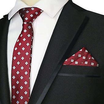 Burgundy & silver flower skinny tie & pocket square