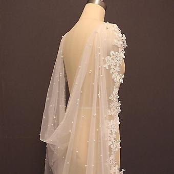 High-quality Pearls Wedding Bolero Lace Long Bride Jacket