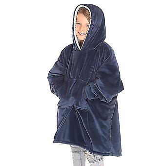 المتضخم سوبر لينة سترة مريحة دافئة مع جيب أمامي كبير للجميع (الأزرق البحري)