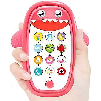 Baby muzikale speelgoed, baby shark telefoon speelgoed met licht en geluid (roze)