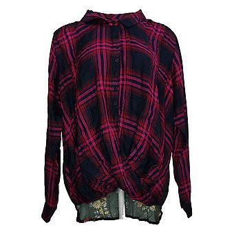 Coleção Tolani Women's Plus Top Pullover Xadrez Impresso Rosa A382635