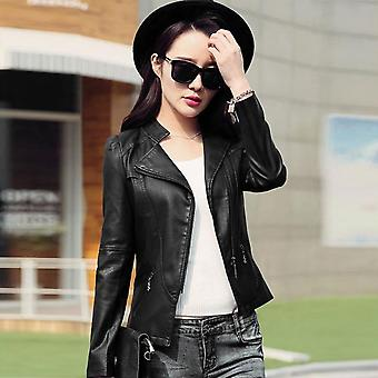 Women Pu Leather Jacket Solid Color Long Sleeve Motorcycle Outwear Coat