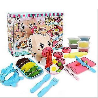 Copoz fai-da-te Cartoon Colore Fango Maiale Noodle Maker Colore Fango Clay Set Play House Stoviglie Giocattoli per bambini