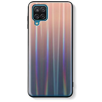Case Samsung Galaxy A12 Bi-material Holographic Shiny Thin Light Brown