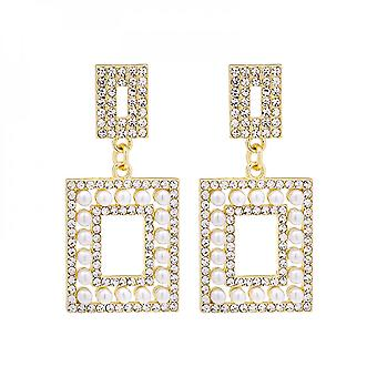 Silver Needle With Exaggerated Square Diamond And Pearl Geometric Retro Earrings