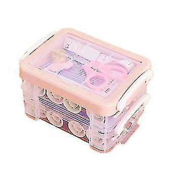 Drie-laags transparante naaidoos naald en draad opslag tool portable (roze)