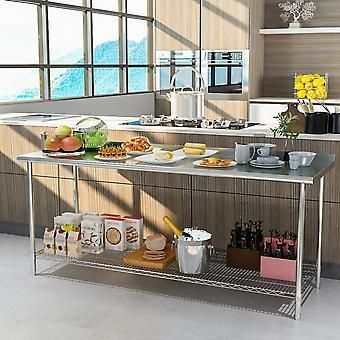 Table de préparation de l'établi de cuisine en acier inoxydable Table de restauration de cuisine avec dosseret
