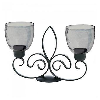 Gallery of Light Fleur de Lis Metal Double Candle Stand, Pack of 1