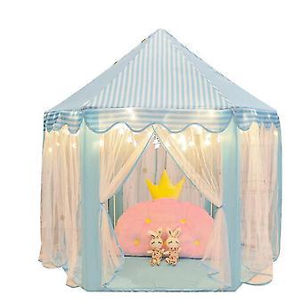 אוהל ילדים משושה הנסיכה אוהל ילדים מקורה לשחק בית (כחול)