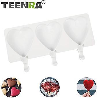 3 Hohlräume Silikon Eis Form Herz Form DIY hausgemachte Eis Würfel Tablett Form(weiß)