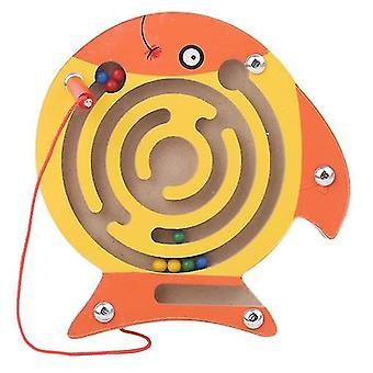 Børn magnetisk labyrint legetøj træ puslespil (Fisk)