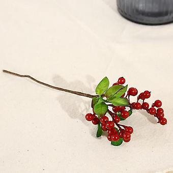 Fiori e bacche artificiali, con foglie, frutti rossi ricchi, composizione floreale, mobili da soggiorno floreali finti, mobili decorativi (b frutta rossa