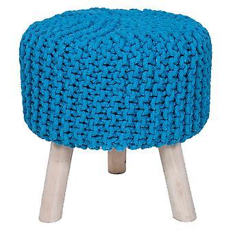 Käsintehty puuvilla punos jakkara neulottu ottomaani Pouf Jalka levätä pehmeä istumapaikkoja turkoosi