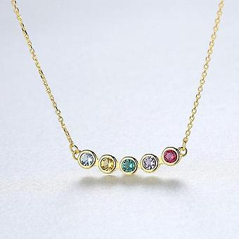 925 Sterling Silver 18K Gold Plated Round Pendant Necklace For Jewelry|Necklaces