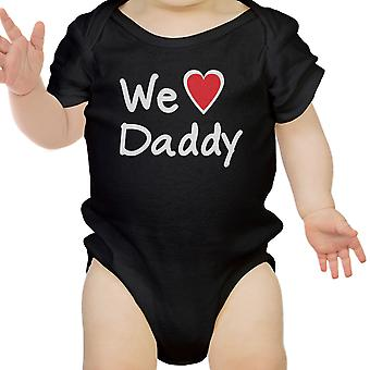 We Love Dad Black Funny Design Baby Bodysuit Cute Baby Shower Gifts